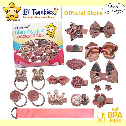 Li'l Twinkies Glamy Hair Accessories 18-in-1, Rose Gold