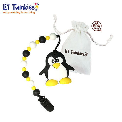 Teether w/ Clip-on, Happy Penguin