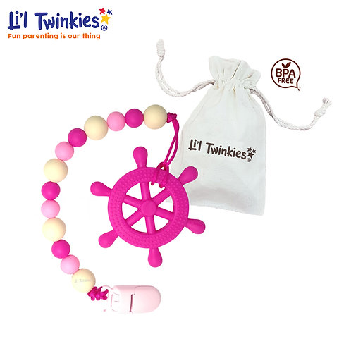 Teether w/ Clip-on, Pink Helm