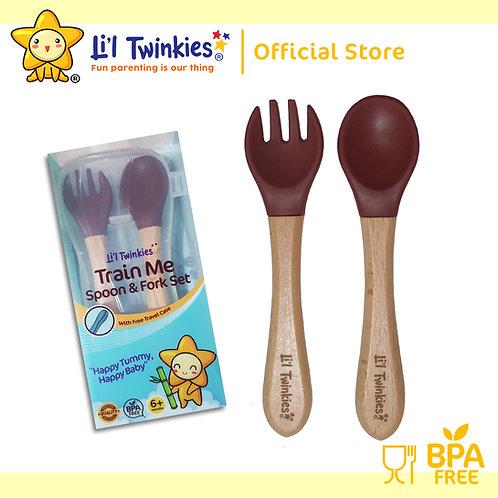 Li'l Twinkies Train Me Spoon and Fork Set, Burgundy