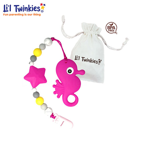 Teether w/ Clip-on, Pink Seahorse