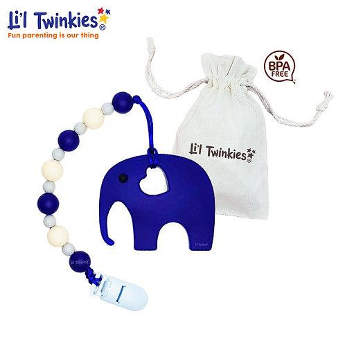 Teether w/ Clip-on, Blue Elephant