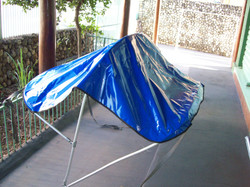 Cobertura de barraca feita em lona