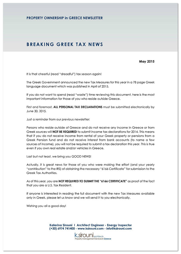 Greek Property Ownership Newsletter - May 2015