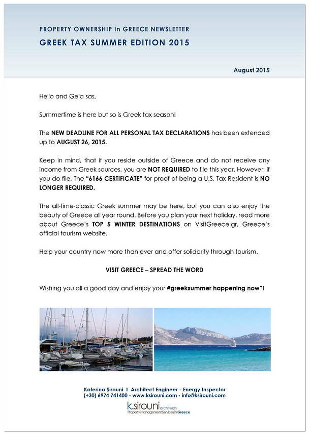 Greek Property Ownership Newsletter - August 2015