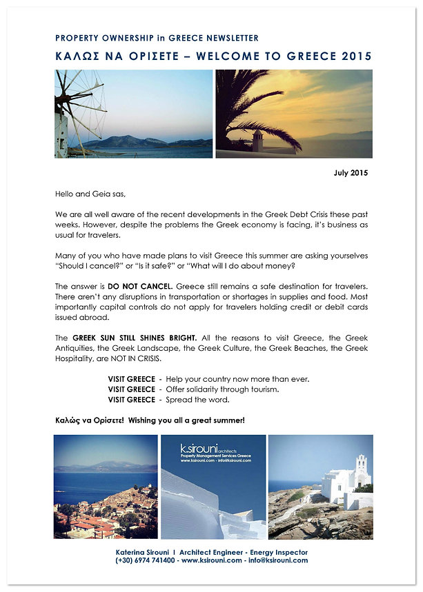 Greek Property Ownership Newsletter - June 2015