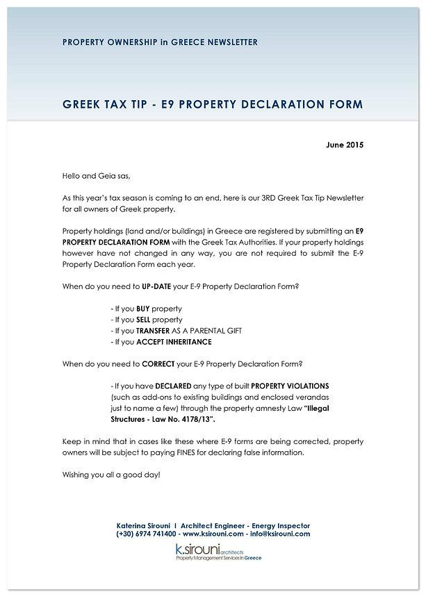 Greek Property Ownership Newsletter - June 2015