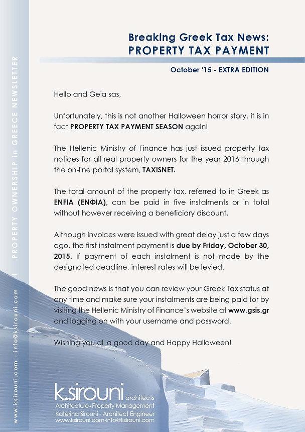 Breaking Greek Tax News - Property Tax Payment