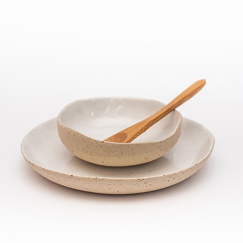Dip Bowl with Saucer and Bamboo Spoon