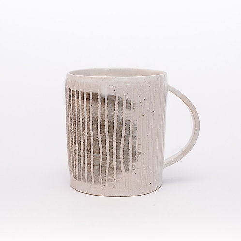Mug - white with slip decoration