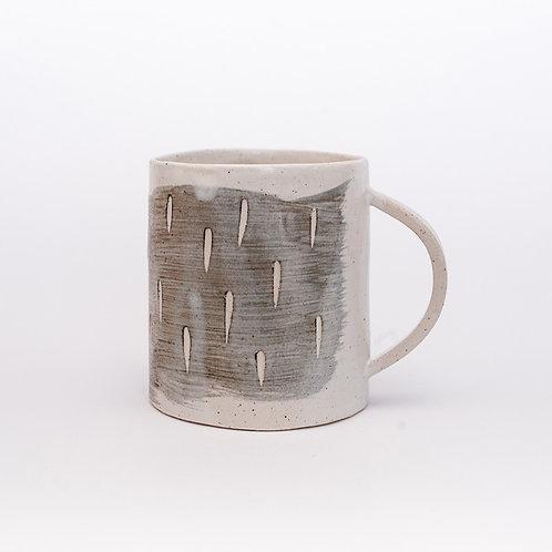 Mug - white with slip decoration