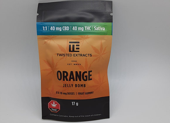 Twisted Extracts 1:1 Sativa Orange 80mg Jelly Bombs