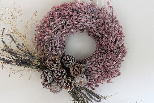 Everlasting Pink 'Waxed' Thyme Wreath (25cm)