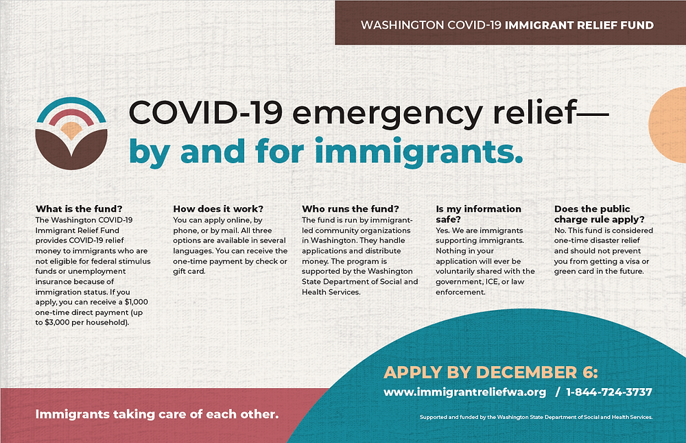 Covid 19 emergency relief--by and for immigrants. What is the fund? the Washington COVID-19 Immigrant Relief fund provides COVID-19 relief money to immigrants who are not eligible for federal stimulus funds or unemployment insurance because of immigration status. If you apply, you can receive a $1,000 one-time direct payment (up to $3,000 per household.) How does it work? You can apply online, by phone, or by mail. All three options are available in several languages. You can receive the one-time payment by check or gift card. Who runs the fund? The fund is run by immigrant-led community organizations in Washington. They handle applications and distribute money. The programs is supported by the Washington State Department of Social and Health Services. Is my information safe? Yes. We are immigrants supporting immigrants. Nothing on your application will ever be voluntarily shared with the government, ICE, or law enforcement. Does the public charge rule apply? No. This fund is considered one-time disaster relief and should not prevent you from getting a visa or green card in the future. Apply by December 6. www.immigrantreliefwa.org or 1-944-724-3737. Immigrants taking care of each other.