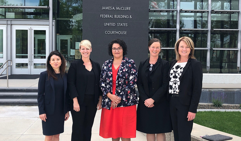 Our legal team outside the District Courthouse in Boise, Idaho. From left: Kim Clark, Legal Voice; Hannah Brass Greer, Planned Parenthood; Chelsea Gaona-Lincoln, Legal Voice; Vanessa Soriano Power, Stoel Rives; and Nicole Hancock, Stoel Rives.
