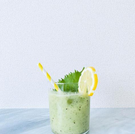 Smash Lemonade with green shiso & golden