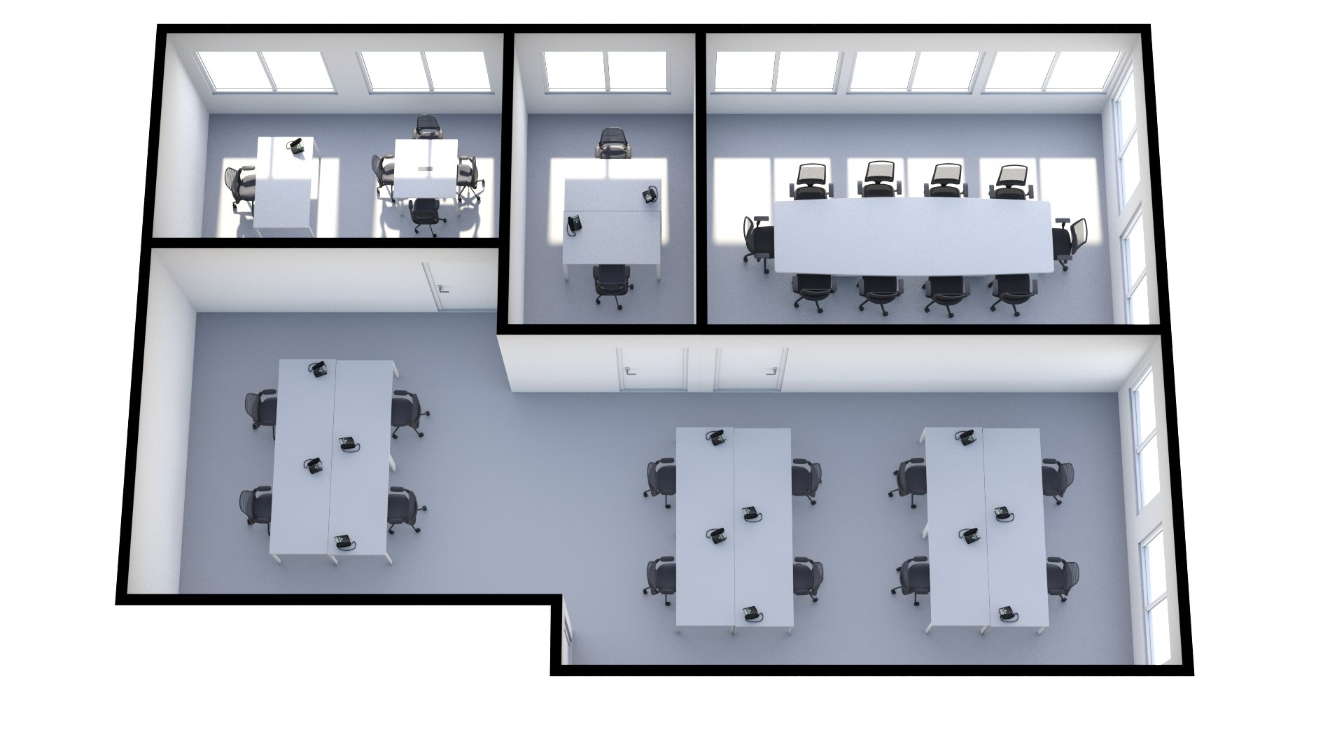 506-7 Floor Plan (3D) 15 Desks