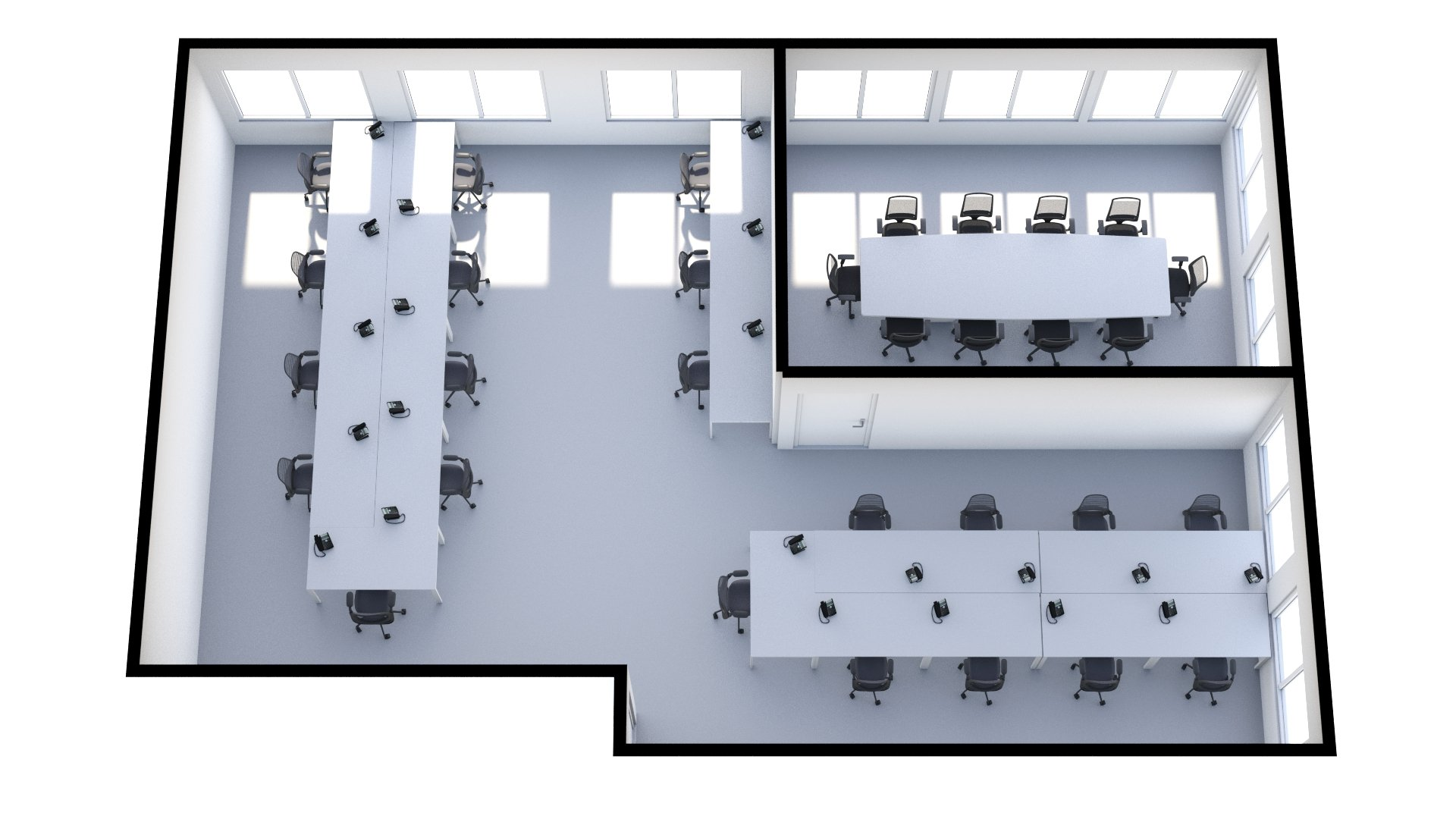 506-7 Floor Plan (3D) 21 Desks