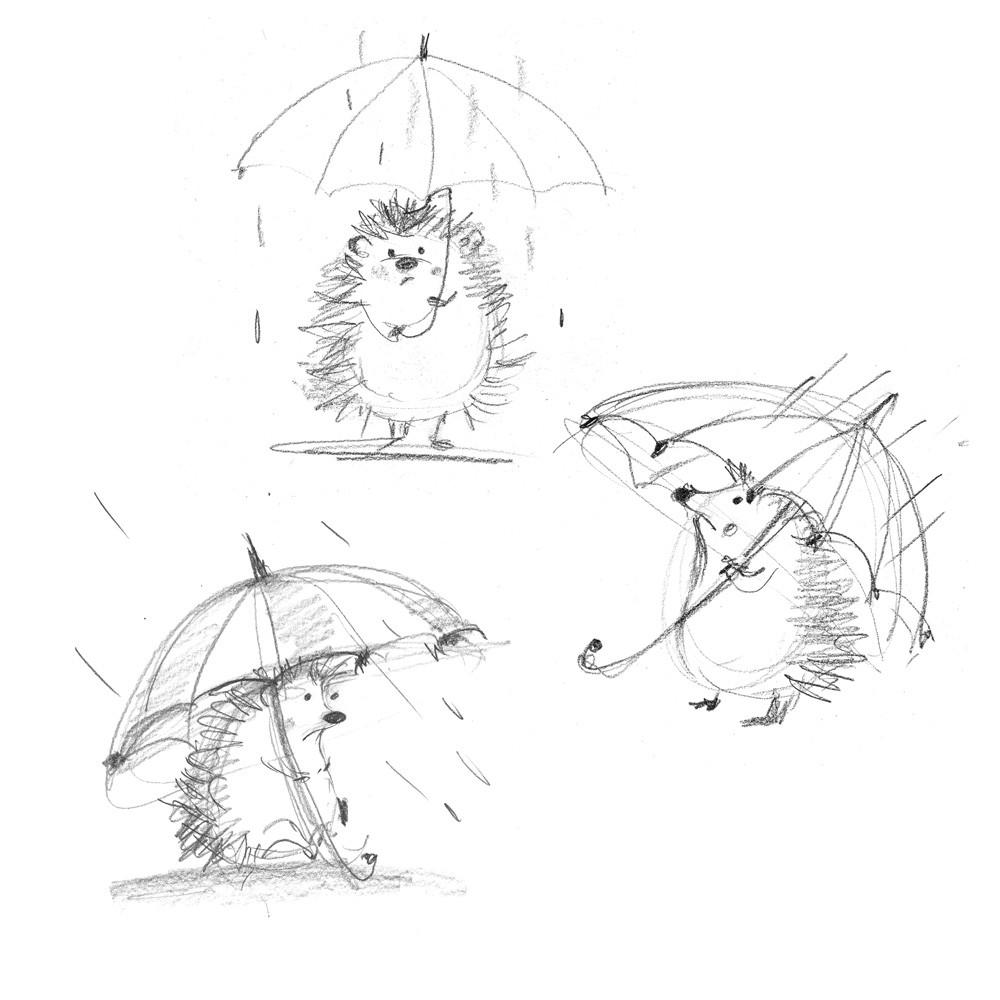 sketch, hedghog, rain, sad, emotions