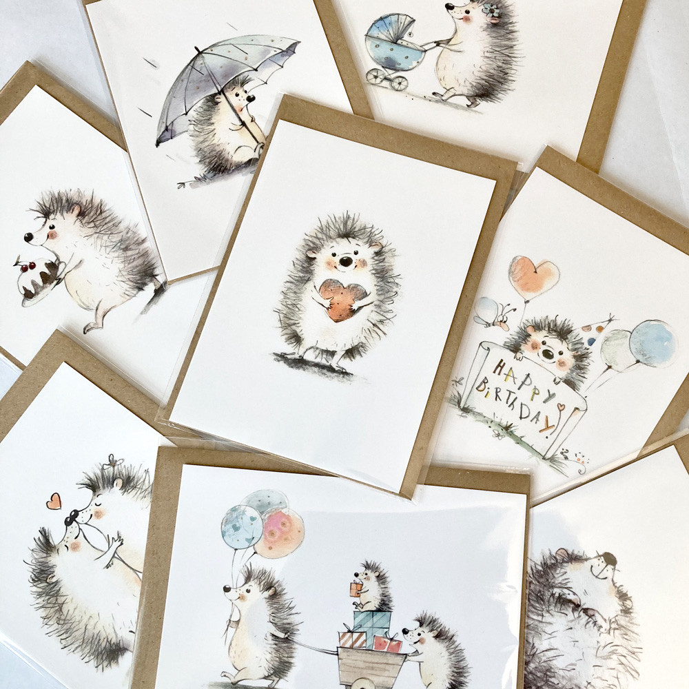 greeting cards, postcards, cute, adorable, animals, hedgehogs, watercolor, illustration