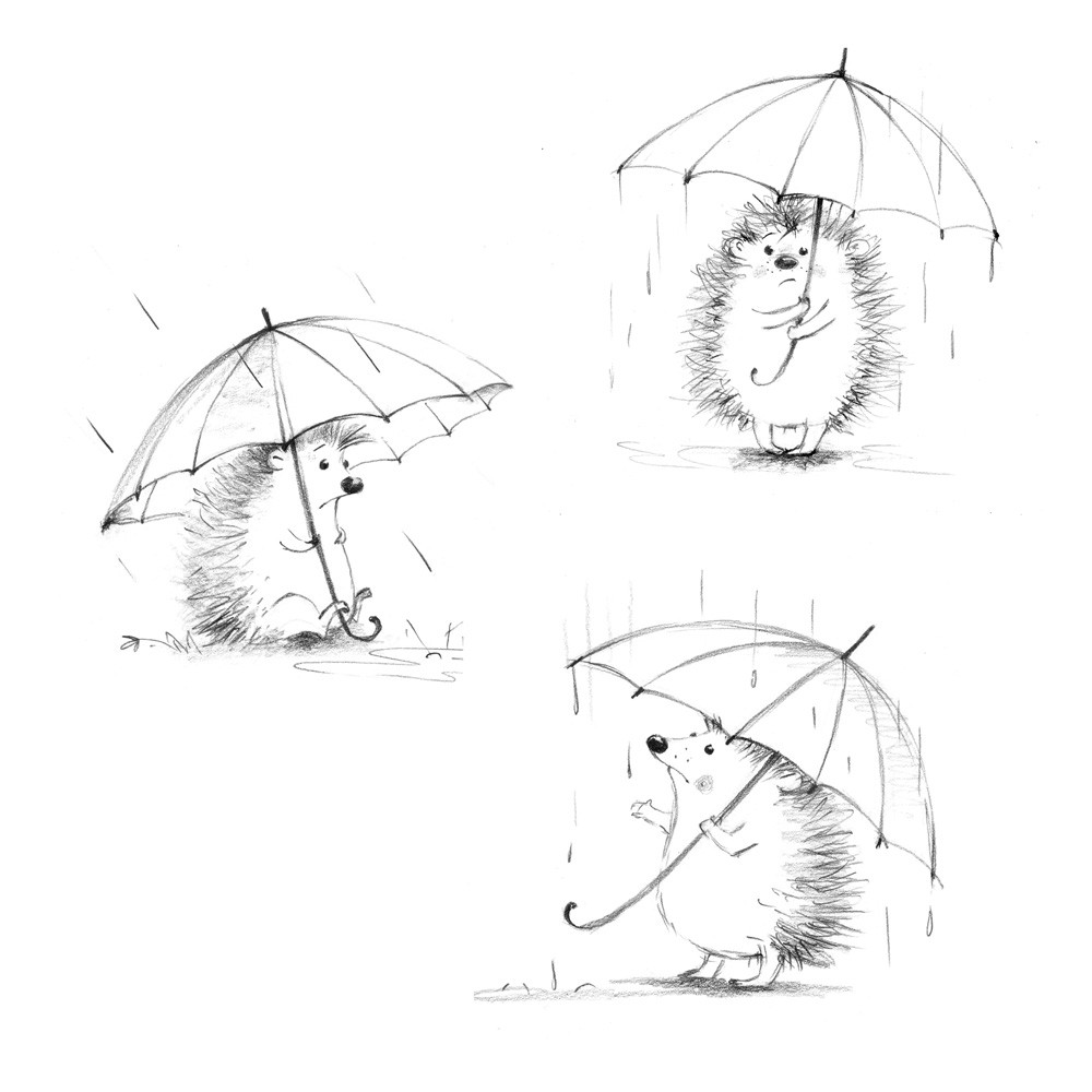 hedgehog, character design, cute animal, illustration, rain, sad, emotions
