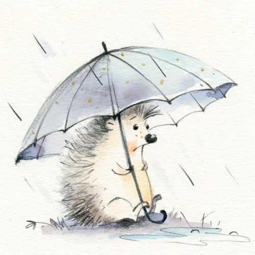 hedgehog, cute, adorable, rain, sad, emotions, greeting card, character, illustration, watercolor, artwork