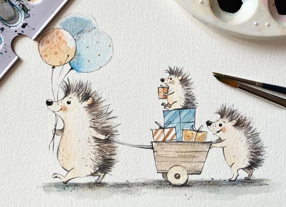 birthday card, watercolor illustration, cute animals, greeting card design, invitation