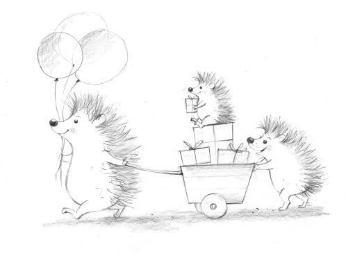birthday, animals, sketch, pencil drawing
