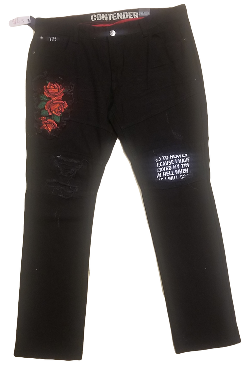 'Rose' Emboroidered Rip & Repair Biker Pants
