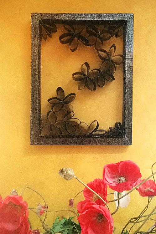 Cadre déco floral noir
