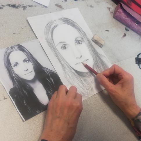Dessin au crayon de papier de Joëlle