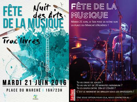 Nuits des arts et fête de la musique à Achères, 21 juin