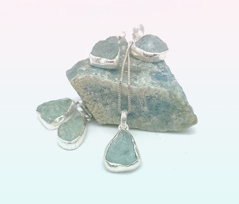 aqua marin sølv smykke