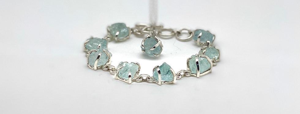 Aquamarin armbånd & Halssmykke