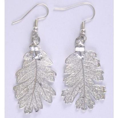 Øreheng: Ekte eikeblader i sølv