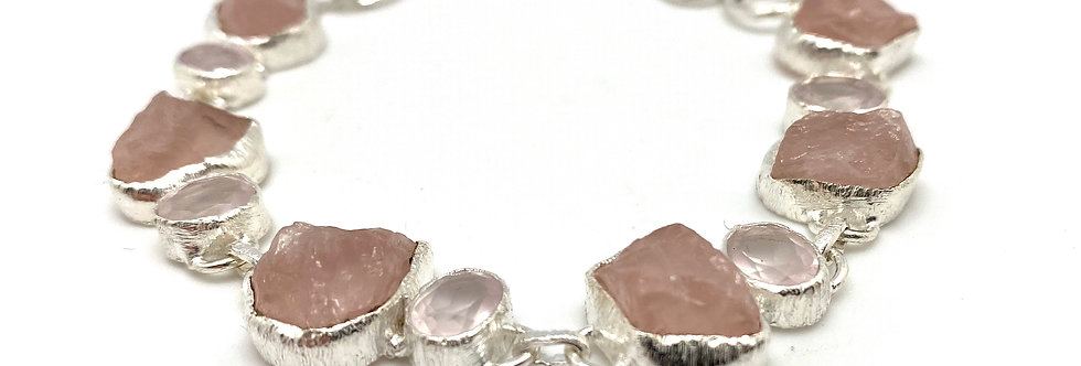 Rosenkvarts silverarmbånd