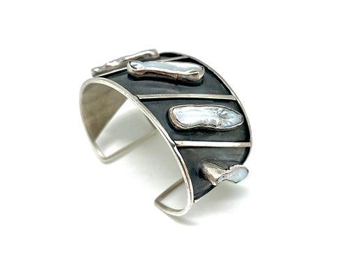 Armring i sølv - Biwaperler