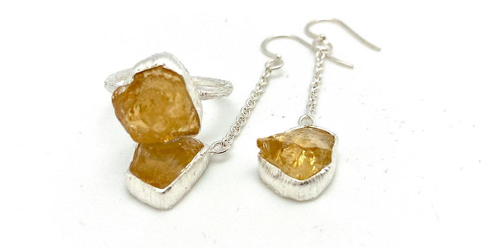 Råsten smykker sett: Ring/Ørehang