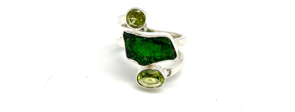 Turmalin & Peridot ring