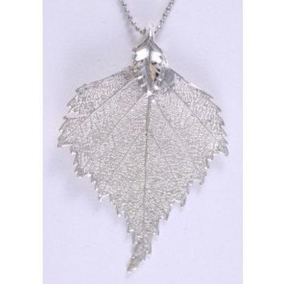 Sett: Ekte bjørkeblader i sølv