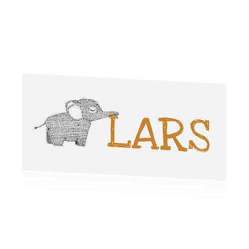 Geboortekaartje olifant typografisch