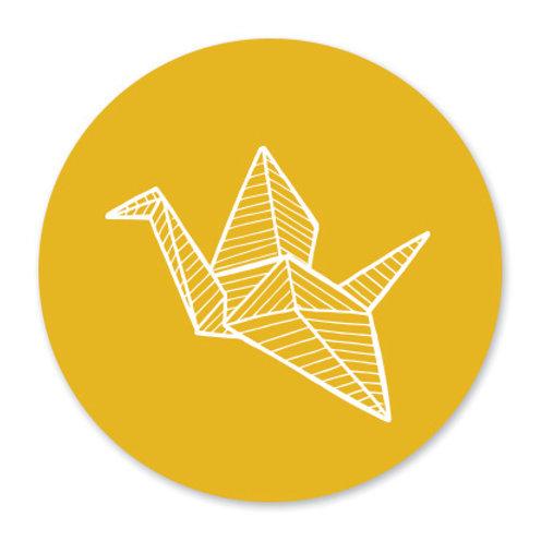 Sluitsticker kraanvogel-geel | 48 stuks