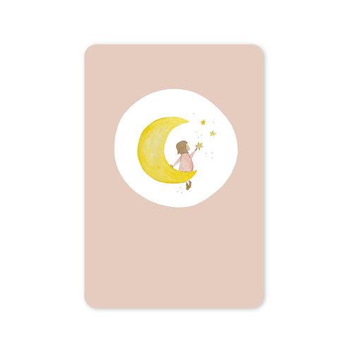 Ansichtkaart 'meisje maan'