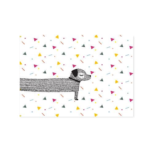 Ansichtkaart 'teckel confetti'