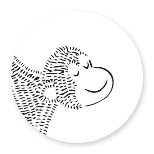 Sluitsticker aap | 48 stuks