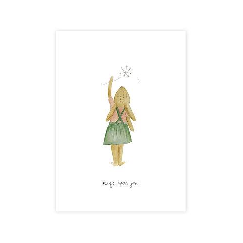 Ansichtkaart 'kusje voor jou'