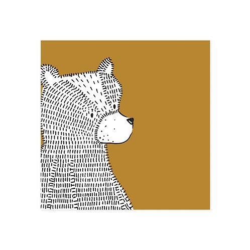 wenskaart beer geel