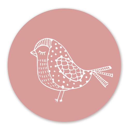 Sluitsticker vogel roze | 48 stuks