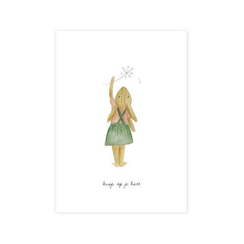 Ansichtkaart 'kusje op je hart'