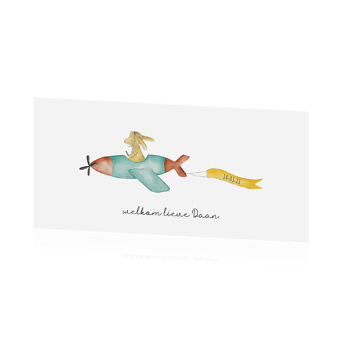 geboortekaartje vliegtuig en konijn, waterverf